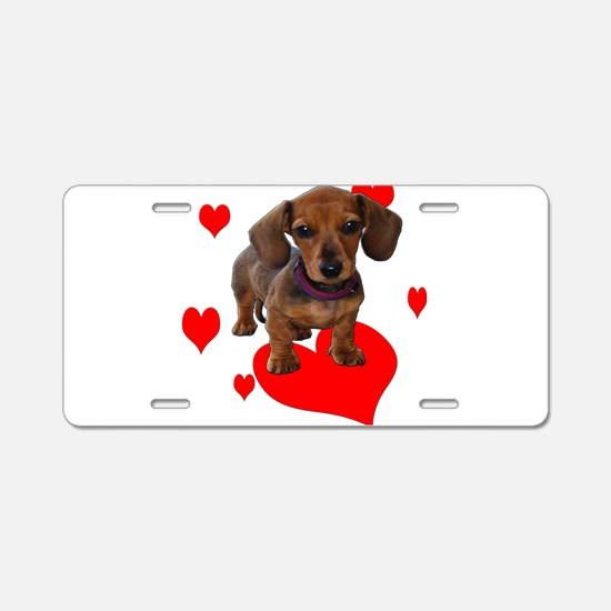 Love Dachshunds Aluminum License Plate