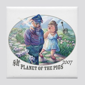 Planet of the Pigs Tile Coaster