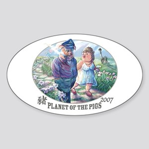 Planet of the Pigs Oval Sticker