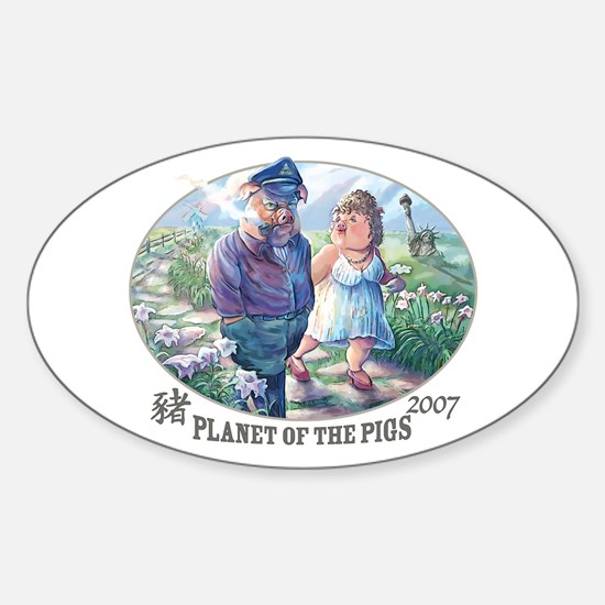 Planet of the Pigs Oval Decal