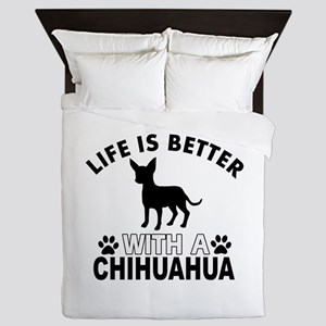 Chihuahua vector designs Queen Duvet
