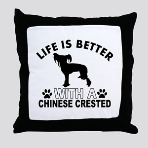 Chinese Crested vector designs Throw Pillow