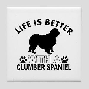 Clumber Spaniel vector designs Tile Coaster
