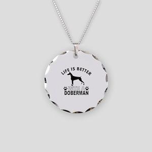 Doberman vector designs Necklace Circle Charm