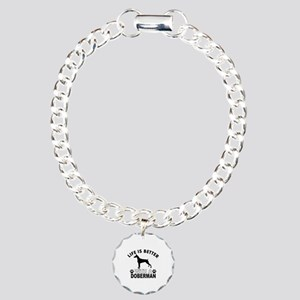 Doberman vector designs Charm Bracelet, One Charm