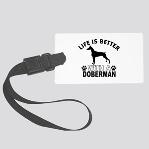 Doberman vector designs Large Luggage Tag