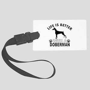 Doberman vector designs Large Luggage Tag