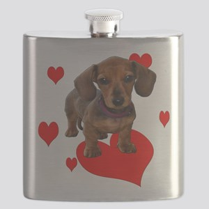 Love Dachshunds Flask