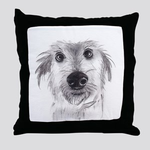Cute scruffy lurcher Throw Pillow