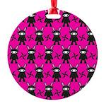Pink Black Ninja Bunny Ornament