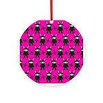 Pink Black Ninja Bunny Ornament (Round)
