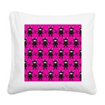 Pink Black Ninja Bunny Square Canvas Pillow