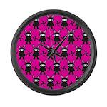 Pink Black Ninja Bunny Large Wall Clock
