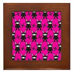 Pink Black Ninja Bunny Framed Tile