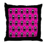Pink Black Ninja Bunny Throw Pillow
