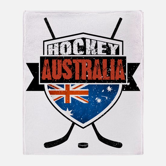 Australian Ice Hockey Shield Throw Blanket
