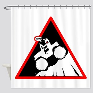 Downhill DUDE Danger Signs Shower Curtain
