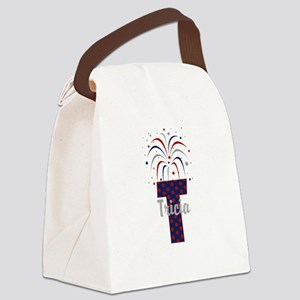 4th of July Fireworks letter T Canvas Lunch Bag