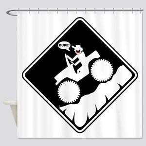 Downhill DUDE Warning Placards Shower Curtain