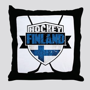 Suomi Finland Hockey Shield Throw Pillow