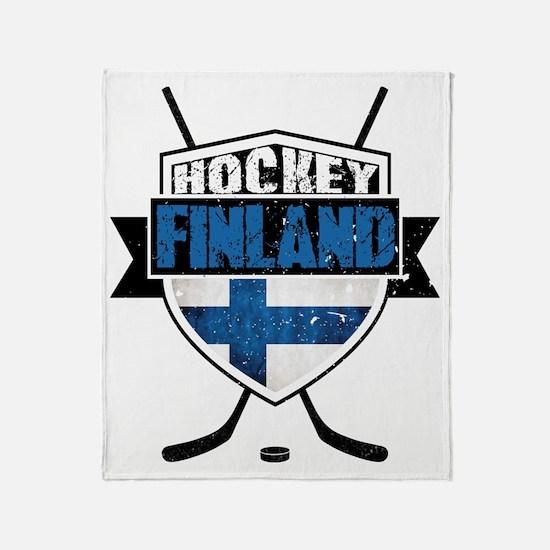 Suomi Finland Hockey Shield Throw Blanket