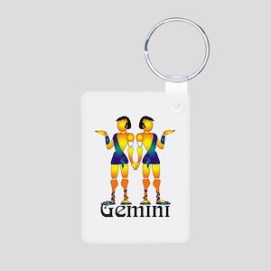 Whimsical Gemini Aluminum Photo Keychain