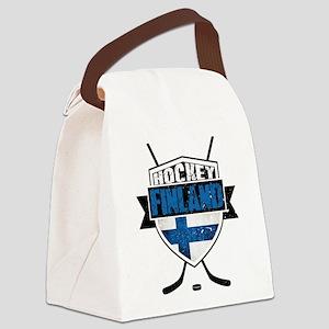 Suomi Finland Hockey Shield Canvas Lunch Bag