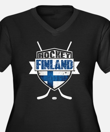 Suomi Finland Hockey Shield Plus Size T-Shirt