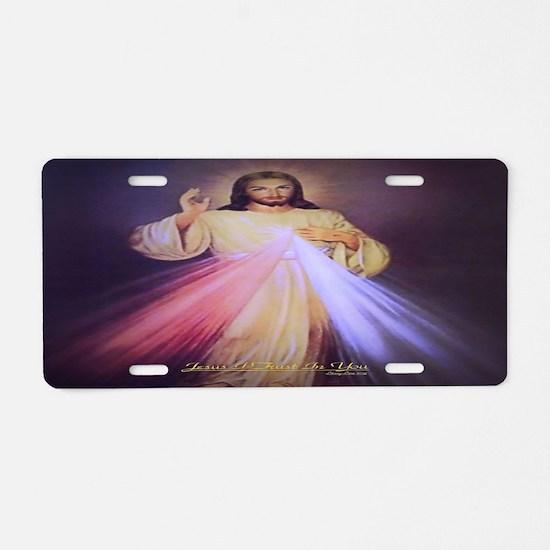 Divine Mercy Gold Aluminum License Plate