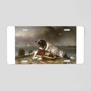 Painting of Landseer Rescue Aluminum License Plate