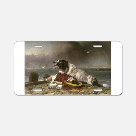 Painting of Landseer Rescue Aluminum License Plate