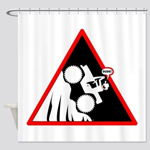 Hill Climb DUDE Danger Signs Shower Curtain