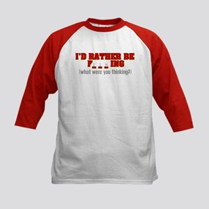 Rather Be Fishing Kids Baseball Jersey