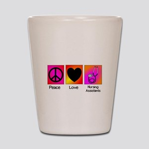 peace love nursing assistants Shot Glass