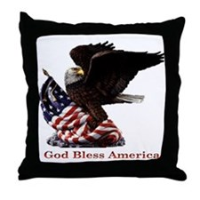 God Bless America Eagle Throw Pillow