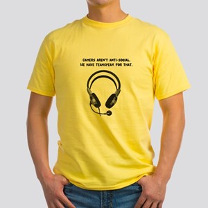 Gamers Aren't Anti-Social Yellow T-Shirt