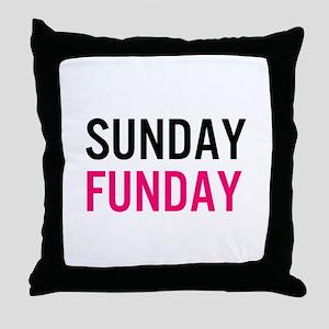 Sunday Funday (black / pink) Throw Pillow