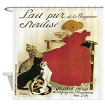 Vintage French Little Girl Cats Shower Curtain