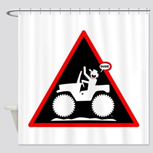 Jeeping DUDE Danger Signs-1w Shower Curtain