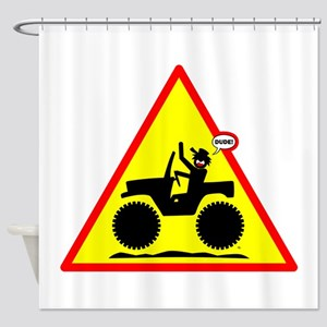 Jeeping DUDE Danger Signs-1b Shower Curtain