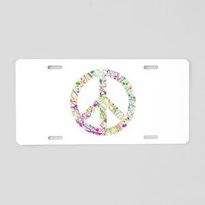 Graffiti Peace Sign Aluminum License Plate