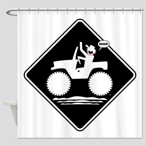 Jeeping DUDE Warning Placards Shower Curtain