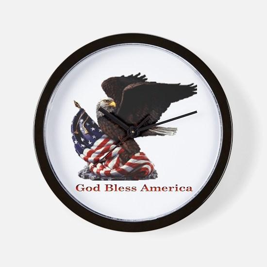 God Bless America Eagle Wall Clock