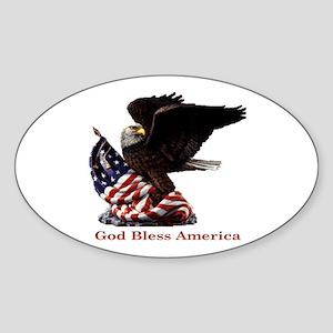 God Bless America Eagle Oval Sticker