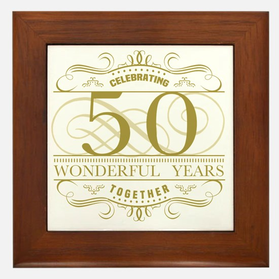 Cute Golden anniversary Framed Tile