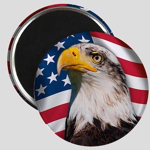 USA flag with bald eagle Magnet