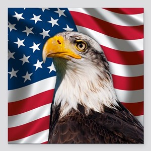 "USA flag with bald eagle Square Car Magnet 3"" x 3"""
