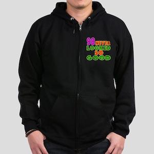98 Birthday Designs Zip Hoodie (dark)