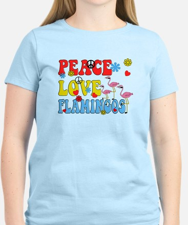 PEACE LOVE FLAMINGOS T-Shirt