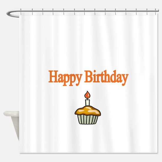 Happy Birthday with Cupcake Shower Curtain